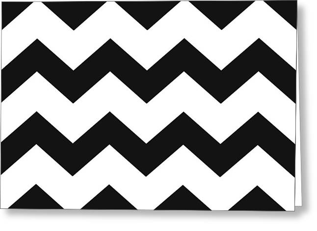 Greeting Card featuring the mixed media Black White Geometric Pattern by Christina Rollo