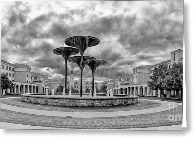 Black White Panorama Of Texas Christian University Campus Commons And Frog Fountain - Fort Worth  Greeting Card