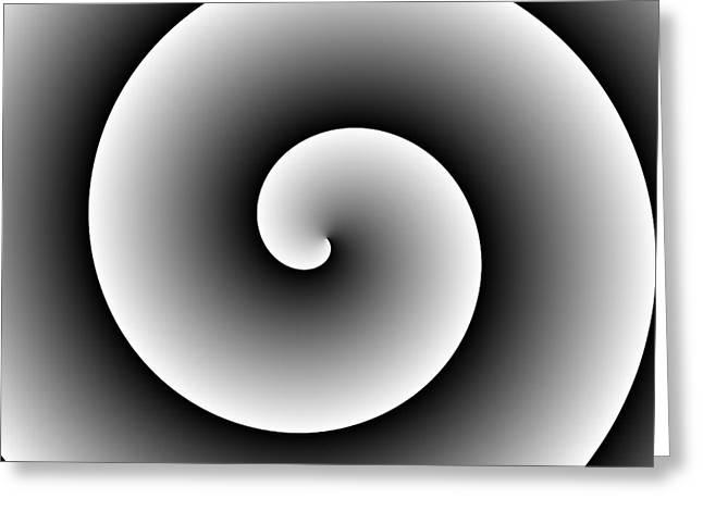 Black White Spiral  Greeting Card