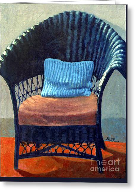 Black Wicker Chair Greeting Card by Donald Maier