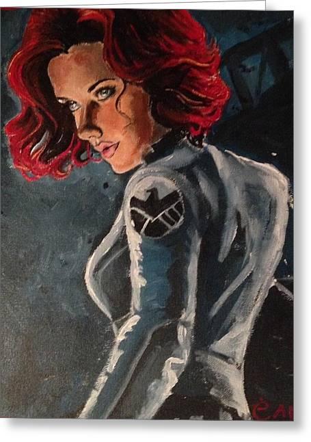 Black Widow Greeting Card by Alana Meyers