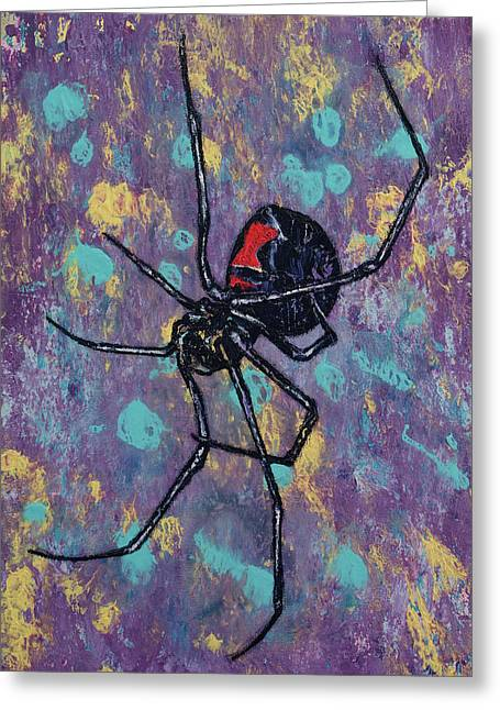 Black Widow Greeting Card by Michael Creese