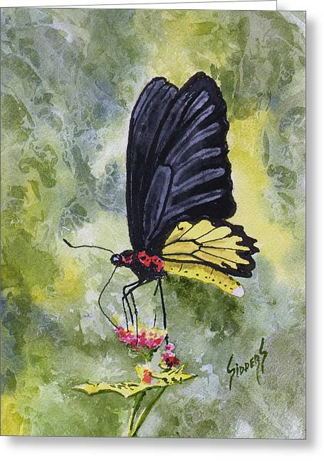 Greeting Card featuring the painting Black Winged Yellow Fellow by Sam Sidders