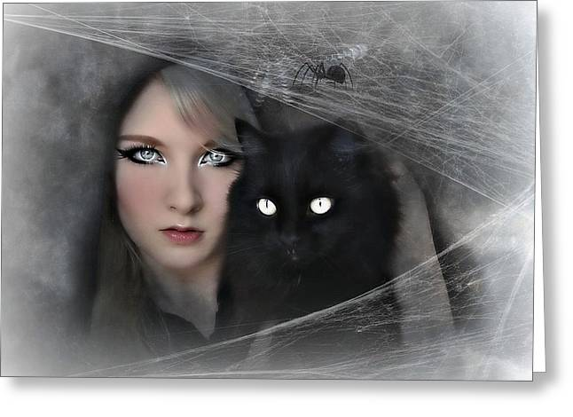 Black Witch Cat Greeting Card