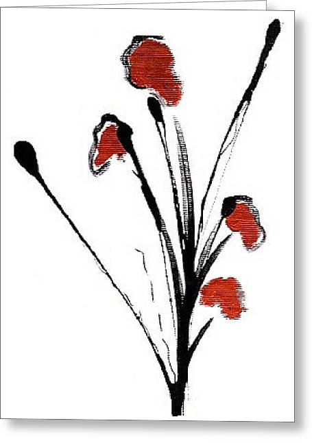 black with a touch of red  A Greeting Card by Mimo Krouzian
