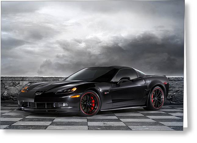 Black Z06 Corvette Greeting Card by Peter Chilelli