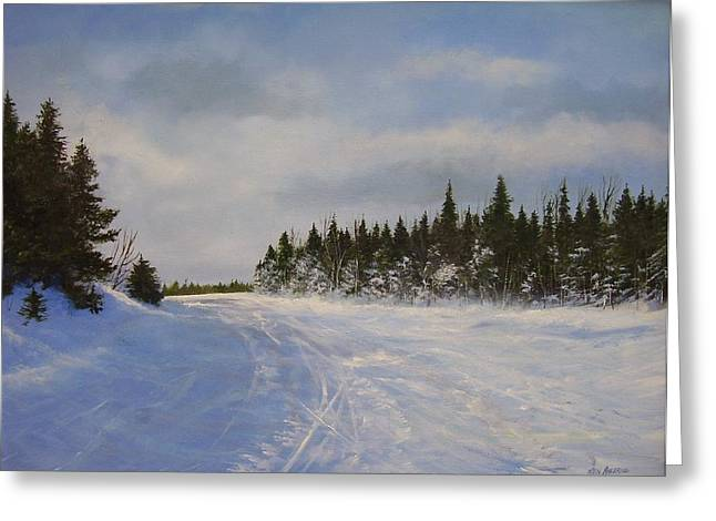 Greeting Card featuring the painting Blackbear Ski Trail by Ken Ahlering