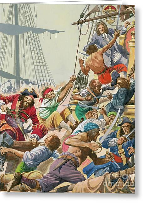 Blackbeard And His Pirates Attack Greeting Card by Peter Jackson