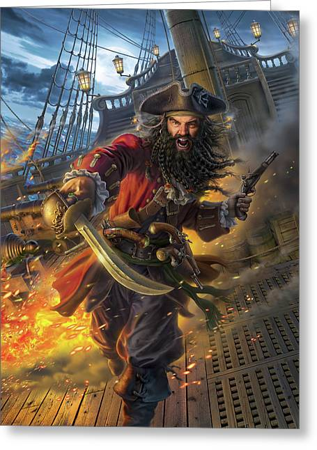 Blackbeard Greeting Card by Mark Fredrickson