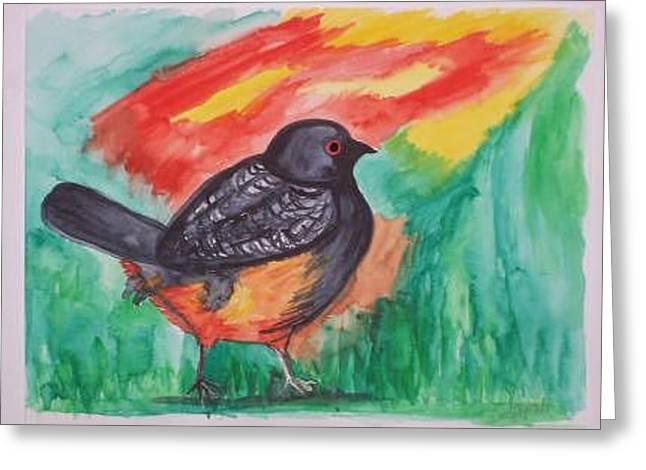 Blackbird Greeting Card by Caroline Lifshey