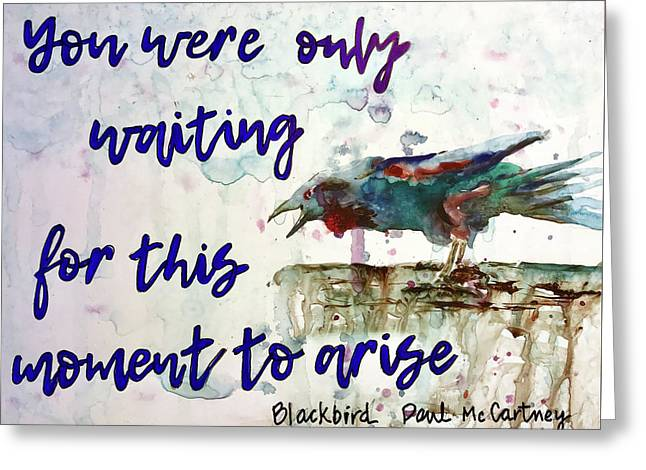 Greeting Card featuring the painting Blackbird by Diane Fujimoto