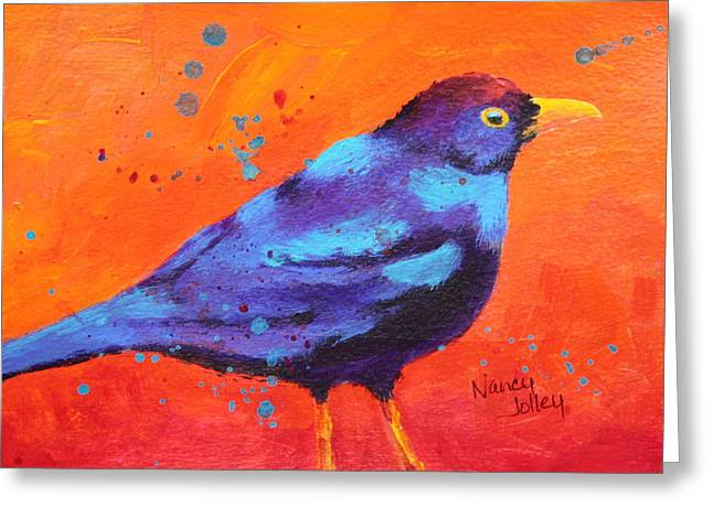 Blackbird II Greeting Card by Nancy Jolley