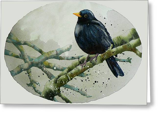 Blackbird Painting Greeting Card