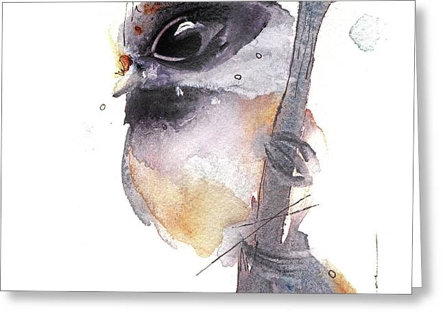 Greeting Card featuring the painting Blackcapped Chickadee by Dawn Derman