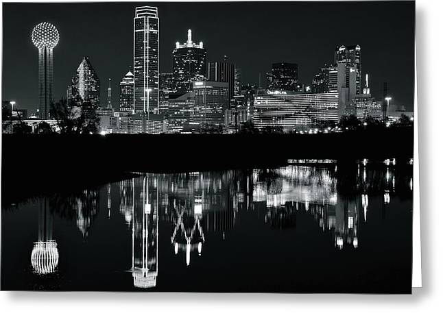 Blackest Night In Big D Greeting Card by Frozen in Time Fine Art Photography