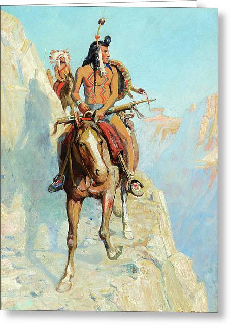 Blackfeet Indians On The War Path Greeting Card