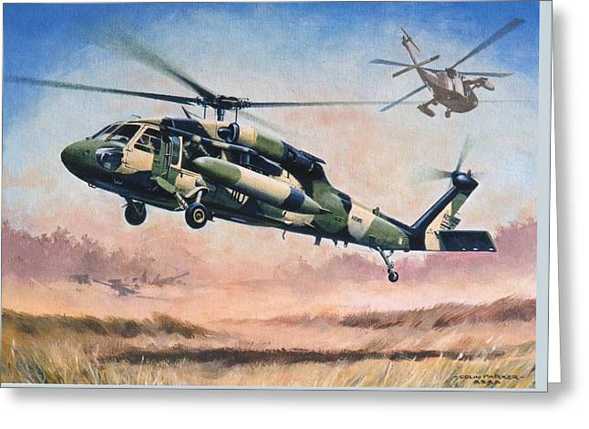 'blackhawk Manoevours' Greeting Card