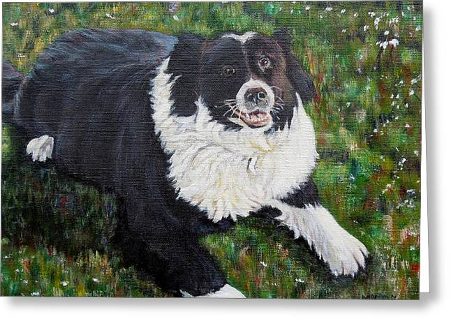 Greeting Card featuring the painting Blackie by Marilyn  McNish