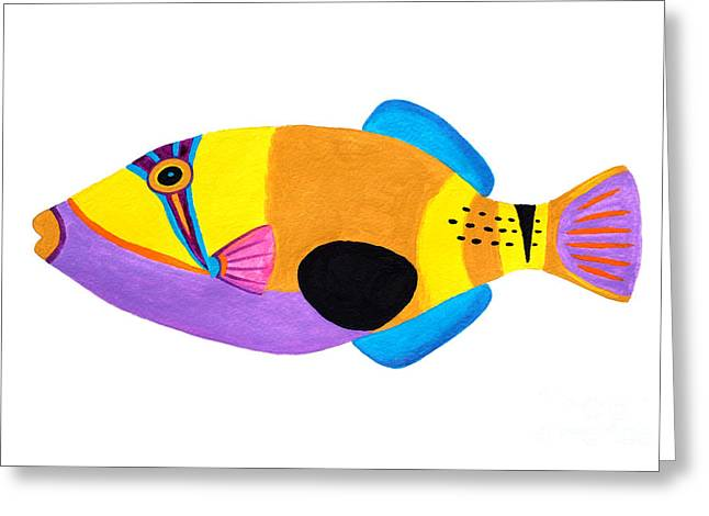 Triggerfish Paintings Greeting Cards - Blackpatch Triggerfish  Greeting Card by Opas Chotiphantawanon