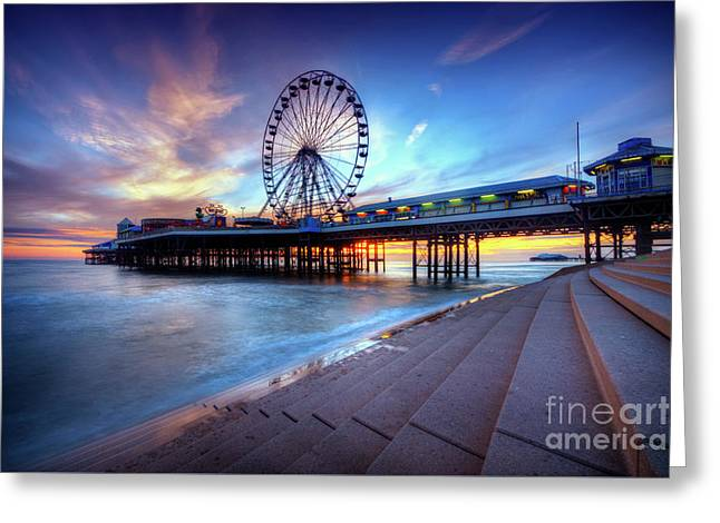 Greeting Card featuring the photograph Blackpool Pier Sunset by Yhun Suarez