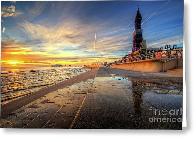Greeting Card featuring the photograph Blackpool Sunset by Yhun Suarez