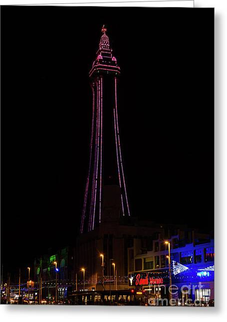 Blackpool Tower Pink Greeting Card by Steev Stamford