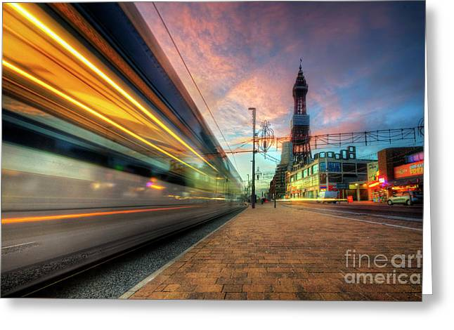 Greeting Card featuring the photograph Blackpool Tram Light Trail by Yhun Suarez