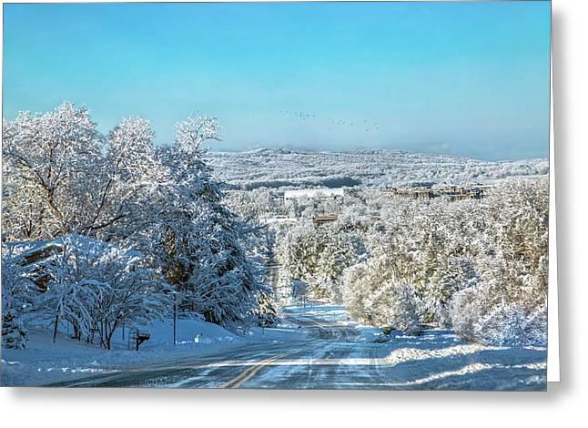 Blacksburg Elegant Country Snow Near Virginia Tech Greeting Card