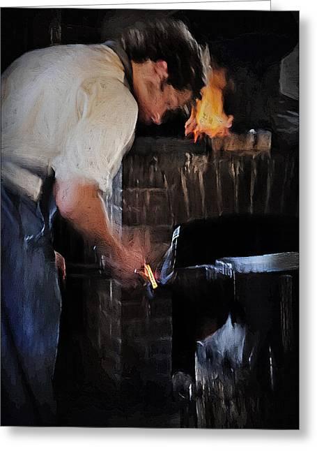 Blacksmith 2 - Pioneer Village Greeting Card by Steve Ohlsen