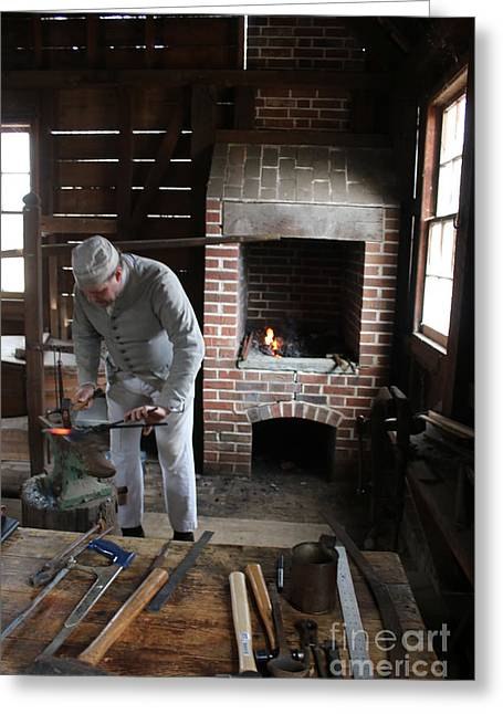 Blacksmith At Work Greeting Card by William Rogers