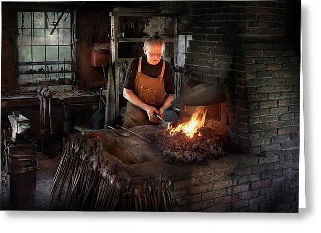 Blacksmith - Blacksmiths Like It Hot Greeting Card by Mike Savad