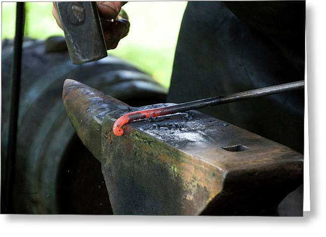 Blacksmith Forging The Rod 02 Greeting Card by Thomas Woolworth