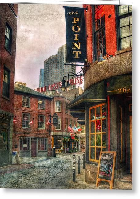 Blackstone Square - Union Oyster House - Boston Greeting Card by Joann Vitali