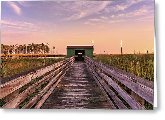 Greeting Card featuring the photograph Blackwater Blind by Jennifer Casey