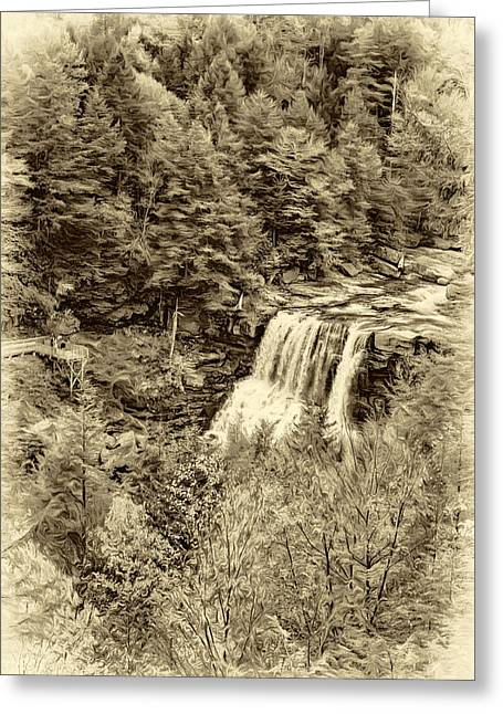 Blackwater Falls Wv - Sepia Greeting Card by Steve Harrington