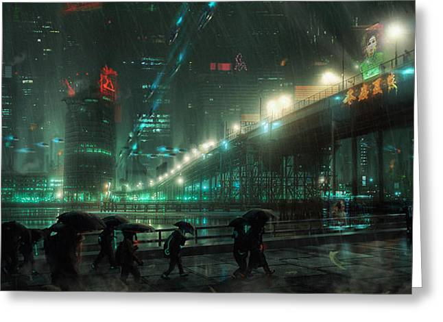 Recently Sold -  - Runner Greeting Cards - Blade Runner Blues Greeting Card by Saul Espinosa