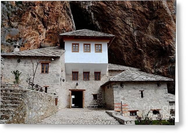 Blagaj Sufi Muslim Dervish Stone Monastery Structure Bosnia Herzegovina Greeting Card by Imran Ahmed