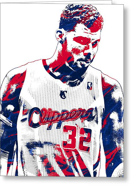 Blake Griffin Los Angeles Clippers Pixel Art 2 Greeting Card by Joe Hamilton