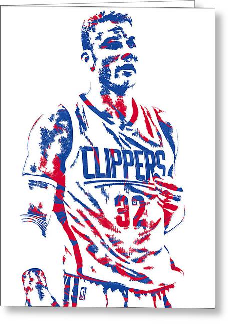 Blake Griffin Los Angeles Clippers Pixel Art 6 Greeting Card by Joe Hamilton