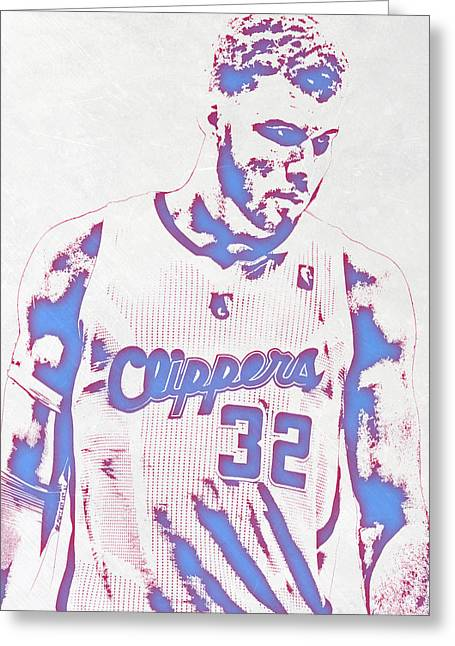 Blake Griffin Los Angeles Clippers Pixel Art Greeting Card by Joe Hamilton