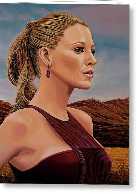 Blake Lively Painting Greeting Card by Paul Meijering
