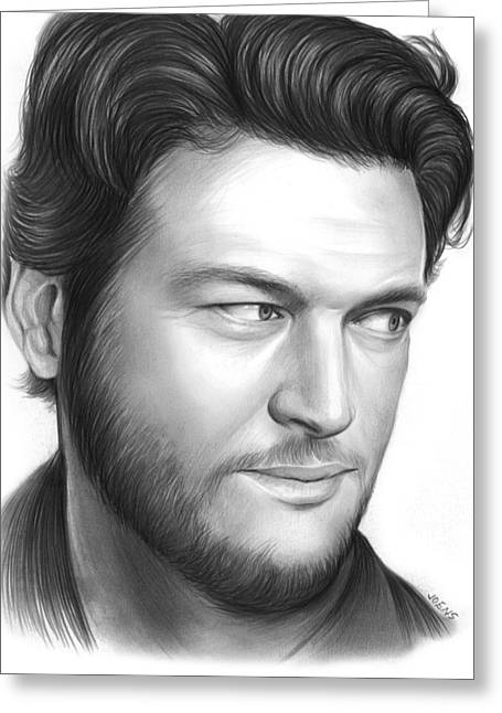 Blake Shelton Greeting Card by Greg Joens