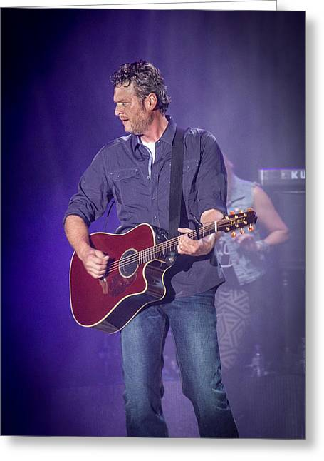 Blake Shelton Guitar 3 Greeting Card by Mike Burgquist