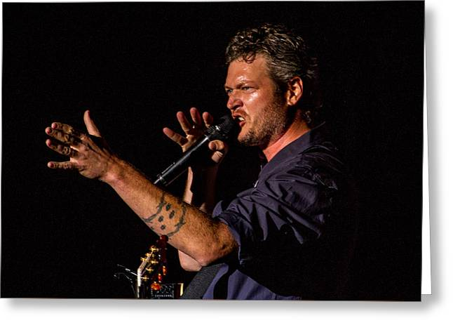 Blake Shelton Greeting Card by Mike Burgquist