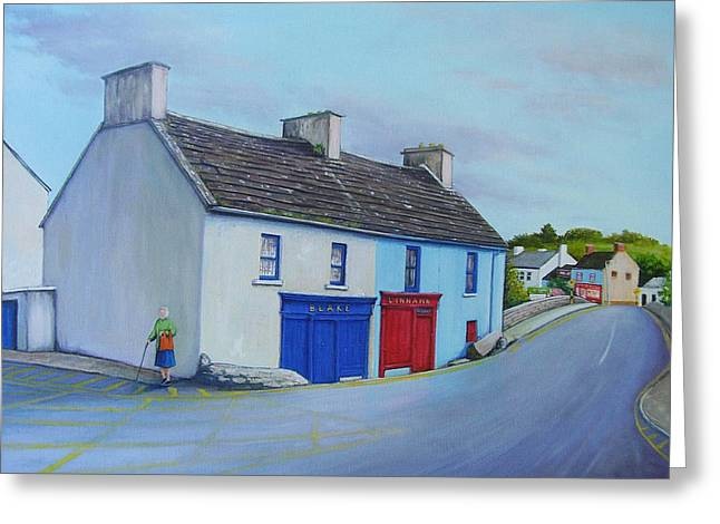 Ennistymon Greeting Card featuring the painting Blakes Corner Ennistymon by Eamon Doyle