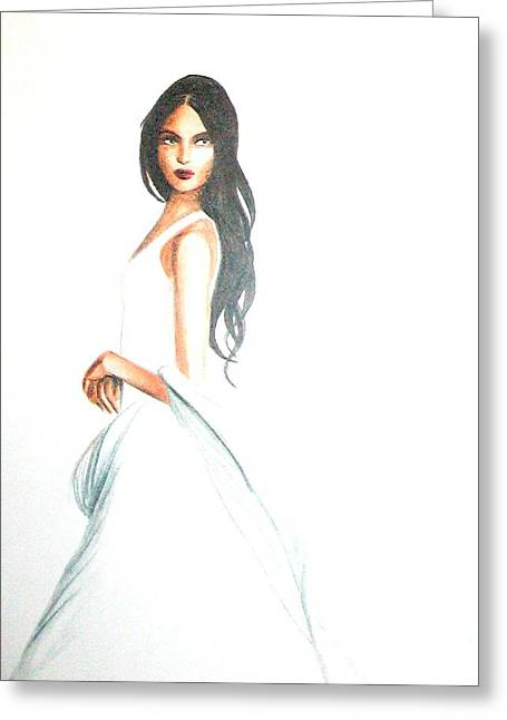Greeting Card featuring the drawing Blanca by MB Dallocchio