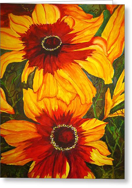 Greeting Card featuring the painting Blanket Flower by Lil Taylor