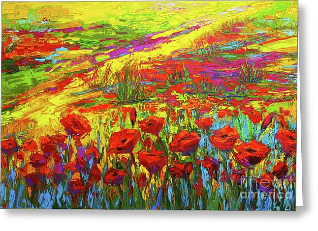 Blanket Of Joy Modern Impressionistic Oil Painting Of Poppy Flower Field Greeting Card