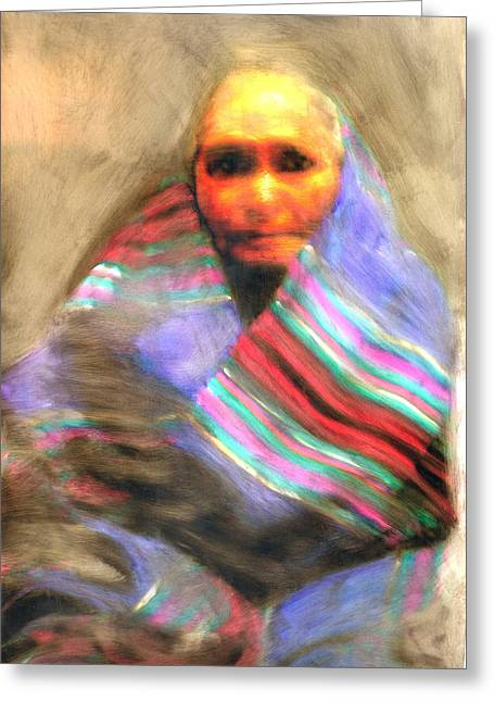 Greeting Card featuring the painting Blanket Weaver by FeatherStone Studio Julie A Miller