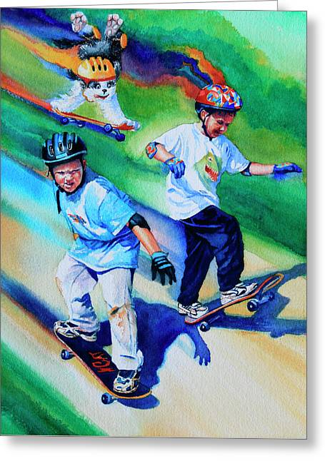 Blasting Boarders Greeting Card by Hanne Lore Koehler